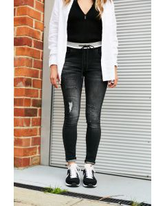 Skinnies with Patches - Black Wash