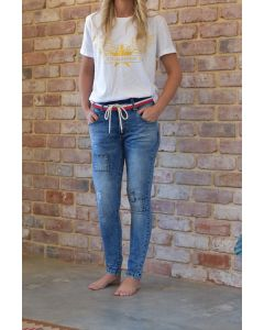 Skinnies with Patches - Blue Wash